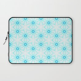 turquoise  white floral geometrical pattern Laptop Sleeve