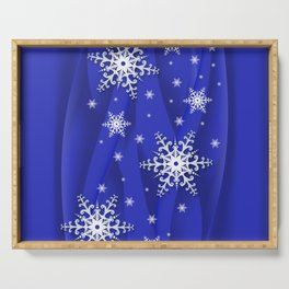 Abstract background with snowflakes Serving Tray