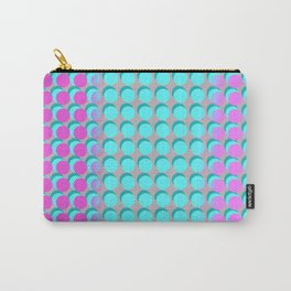Pink & Aqua Spots on Taupe Carry-All Pouch