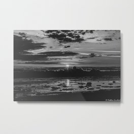 Sunset North Sea Waves Reflections Denmark Bjerregard Beach 8 bw Metal Print
