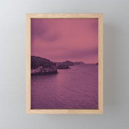Seascape in the Shades of Pink. Deserted Islands in the Sea. Framed Mini Art Print