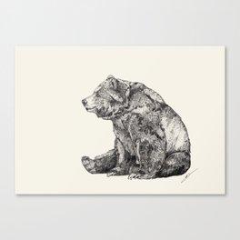 Bear // Graphite Canvas Print