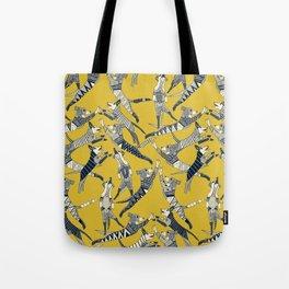 dog party indigo yellow Tote Bag