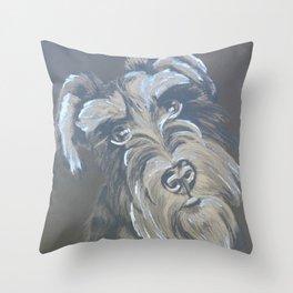 Inquisitive Schnauzer Throw Pillow