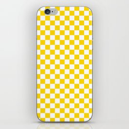 Small Checkered - White and Gold Yellow iPhone Skin