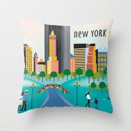 New York City, New York - Skyline Illustration by Loose Petals Throw Pillow