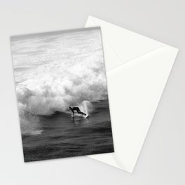 Lone Surfer in Black and White Stationery Cards