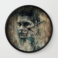 dean winchester Wall Clocks featuring Dean Winchester by Sirenphotos