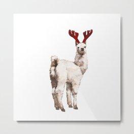 Christmas Baby Llama Reindeer Metal Print