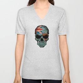Dark Skull with Flag of Fiji Unisex V-Neck