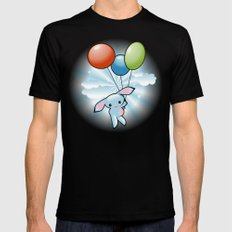 Cute Little Blue Bunny Flying With Balloons Mens Fitted Tee Black MEDIUM