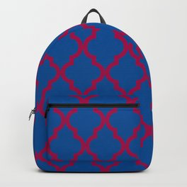 Moroccan Quatrefoil Pattern: Red & Blue Backpack