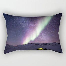 Arctic Camping Under Aurora Borealis Rectangular Pillow