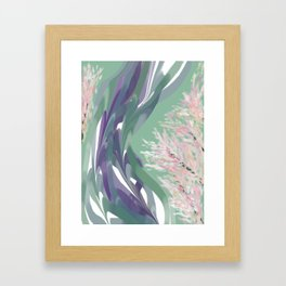 Deep Ocean River Abstract In Soft Green and Purple Framed Art Print