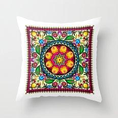 folk flowers collage Throw Pillow