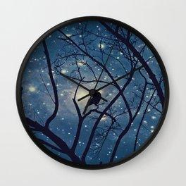 Moon light Crow Wall Clock