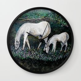 Dappled Mare with Dappled Foal Wall Clock
