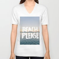 beach V-neck T-shirts featuring Beach by Trend