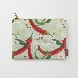 Red chili pepper and lily white flower watercolor seamless pattern Carry-All Pouch