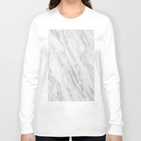 white marble Long Sleeve T-shirts featuring White Marble by LS Works