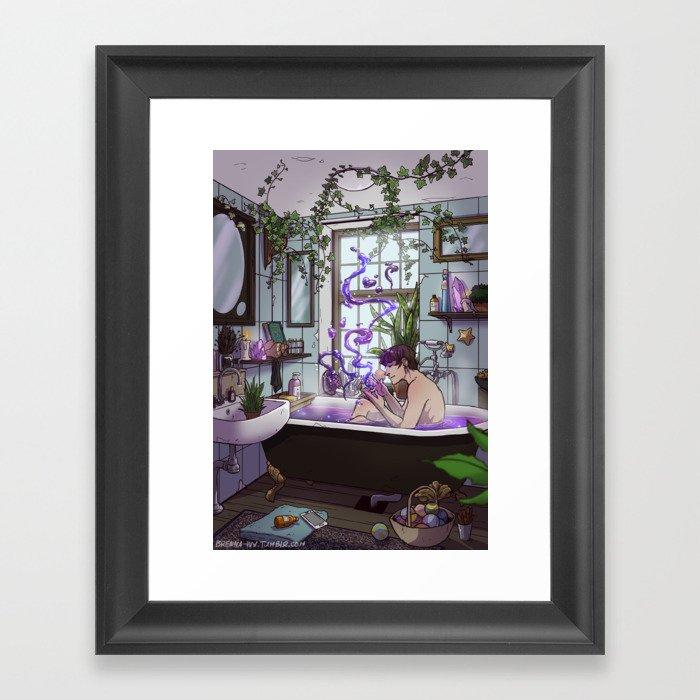 Modern Male Witch Bathroom Framed Art Print by brennaivy | Society6