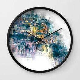 Houses village coast Italy Wall Clock