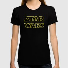 Star Logo Wars Black Womens Fitted Tee SMALL
