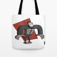 planet of the apes Tote Bags featuring Caesar - Dawn of the Planet of the Apes Cartoon by Aaron Lecours