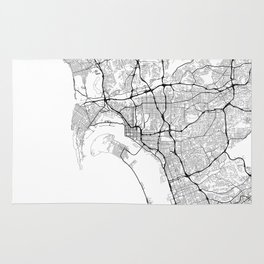 Minimal City Maps - Map Of San Diego, California, United States Rug