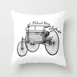 Vintage benz 1885 | Natural Born Vagabond™  Throw Pillow