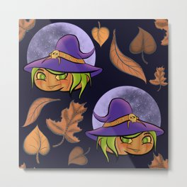 Autumn Pumpkin Witch and Moon Metal Print