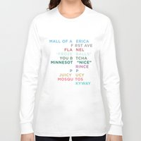 minneapolis Long Sleeve T-shirts featuring The Words of Minneapolis by tinyconglomerate