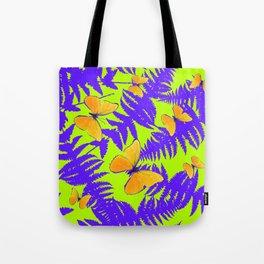 Golden Butterflies Purple Fern Fronds Chartreuse Color Art Tote Bag