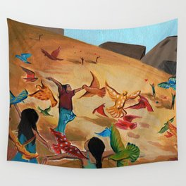 Happy children with Painted birds children's book Illustration Wall Tapestry
