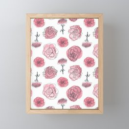 Pink Carnation Pattern Framed Mini Art Print