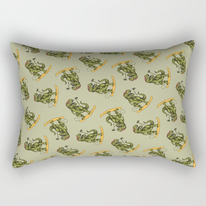 Dinosaur Surfer Rectangular Pillow