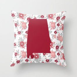Alabama state silhouette university of alabama crimson tide floral college football gifts Throw Pillow