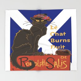 Le Chat Burns Nuit Haggis Dram Scottish Saltire Throw Blanket