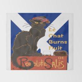 Le Chat Burns Nuit Haggis Dram Scottish Saltire Throw Blanket