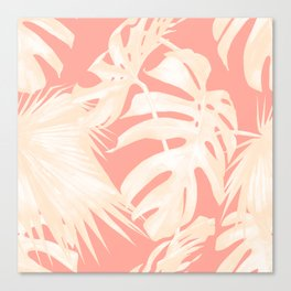 Tropical Coral Pink Palm Leaf Pattern Canvas Print