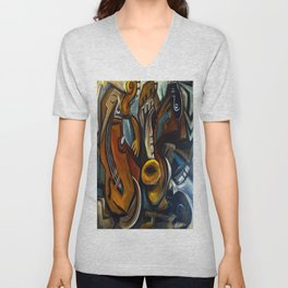 Black Cat Jazz Unisex V-Neck