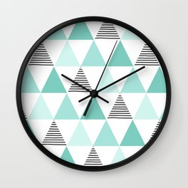 Black Stripes and Mint Triangles Wall Clock