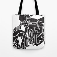 motorcycle Tote Bags featuring Motorcycle by Gemma Bullen Design