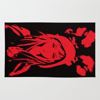 red hood Area & Throw Rugs featuring Miss Red riding hood  by Sammycrafts