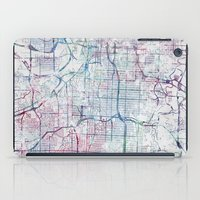 kansas city iPad Cases featuring Kansas city map by MapMapMaps.Watercolors