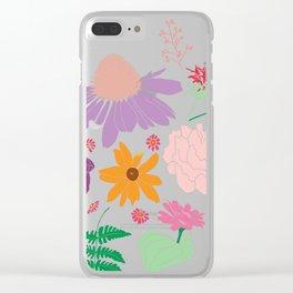 Floral Motif Bouquet Flower Illustration Clear iPhone Case