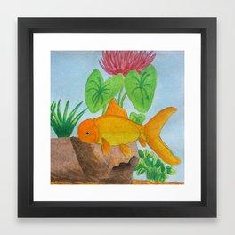 Orange Goldfish Watercolor Framed Art Print