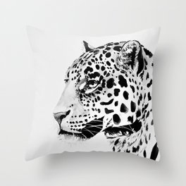 Watercolor Leopard (Black and White) Throw Pillow
