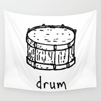 drum Wall Tapestries featuring drum by Isaac Collmer