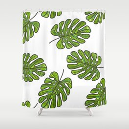 UrbanNesian Green Monstera Leaf Shower Curtain